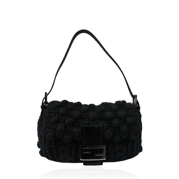 Bolsa-Fendi-Baguette-Crochet-Preta