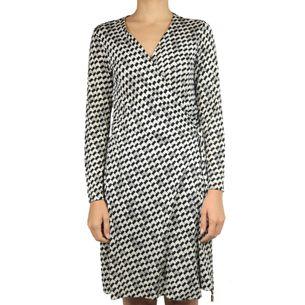 Vestido-Wrap-Dress-Diane-Von-Furstenberg-Estampado-Geometrico-Cinza-Preto-e-Branco