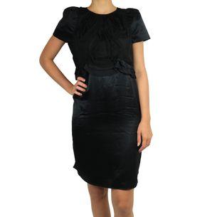 Vestido-Valentino-Vintage-em-Cetim-de-Seda-Preto