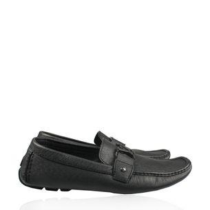 Mocassim-Louis-Vuitton-Couro-Cinza-com-Inicial-LV-Cinza