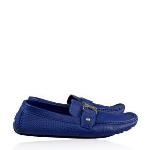Mocassim-Louis-Vuitton-Couro-Azul-Bic-com-Inicial-LV-Azul
