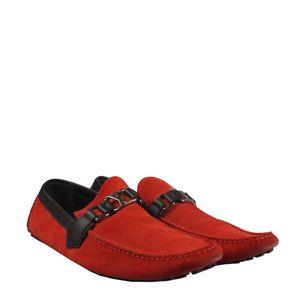 Mocassim-Louis-Vuitton-Camurca-Vermelho-com-Couro-Marrom