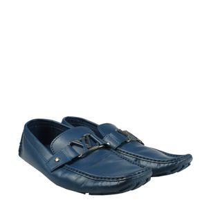 Mocassim-Louis-Vuitton-Couro-Azul-com-Inicial-LV