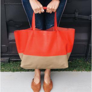 Bolsa-Celine-Bicolor-Cabas-Vermelha-e-Bege