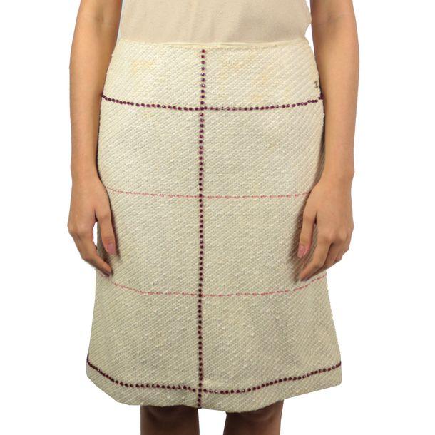 Saia-Chanel-Vintage-Tweed-Off-White-com-Bordado