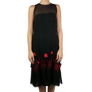 Vestido-Chanel-Vintage-em-Crepe-de-Seda-Preto-com-Flores-Vermelhas