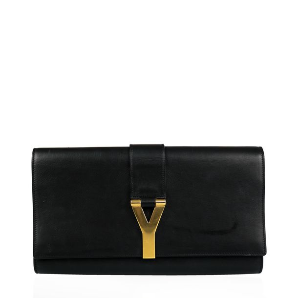 Clutch-Yves-Saint-Laurent-Chyc-Couro-Preto