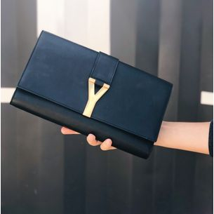 61026-Clutch-Yves-Saint-Laurent-Chyc-Couro-Preto-verso