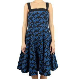 Vestido-Carolina-Herrera-Floral-Preto-e-Azul