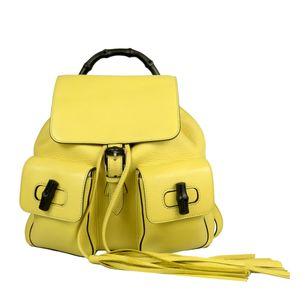 Mochila-Gucci-Bambu-Couro-Amarelo