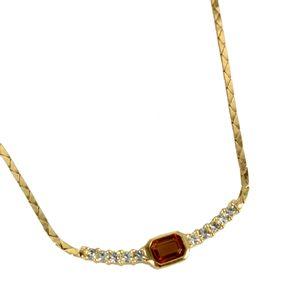 Colar-Christian-Dior-Pedra-Laranja-e-Strass-Vintage
