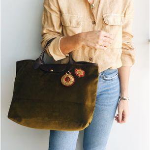 Bolsa-Longchamp-Veludo-Verde