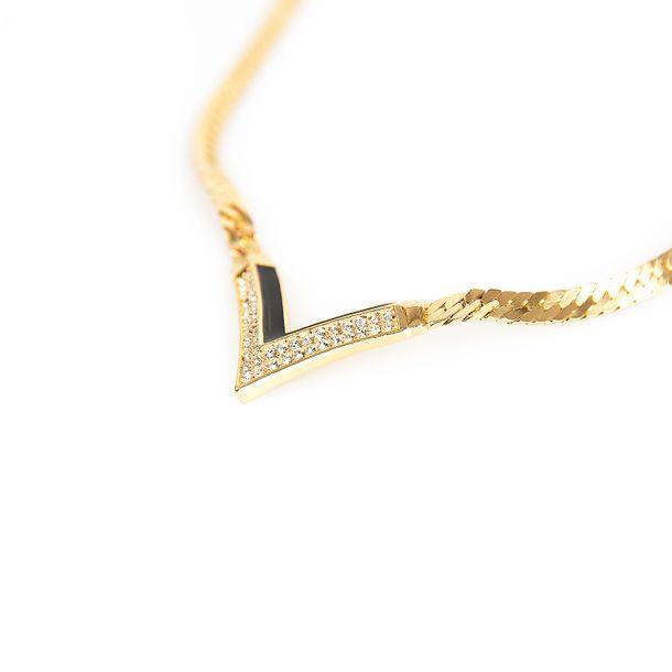 Colar-Christian-Dior-Dourado-V-Esmaltado-Preto