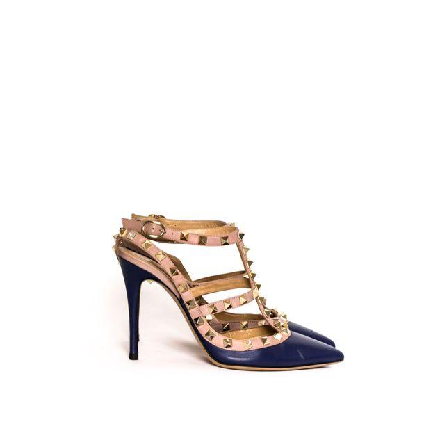 Scarpin-Valentino-Rockstud-Couro-Azul
