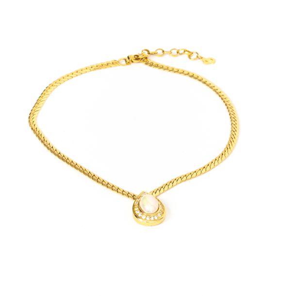 Colar-Christian-Dior-Perola-Gota-Corrente-Dourada