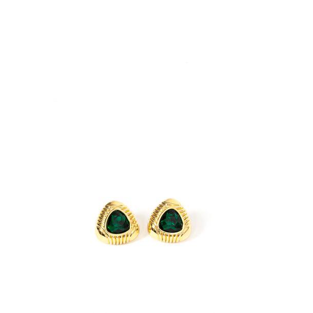 Brincos-Swarovski-Dourado-Pedra-Verde