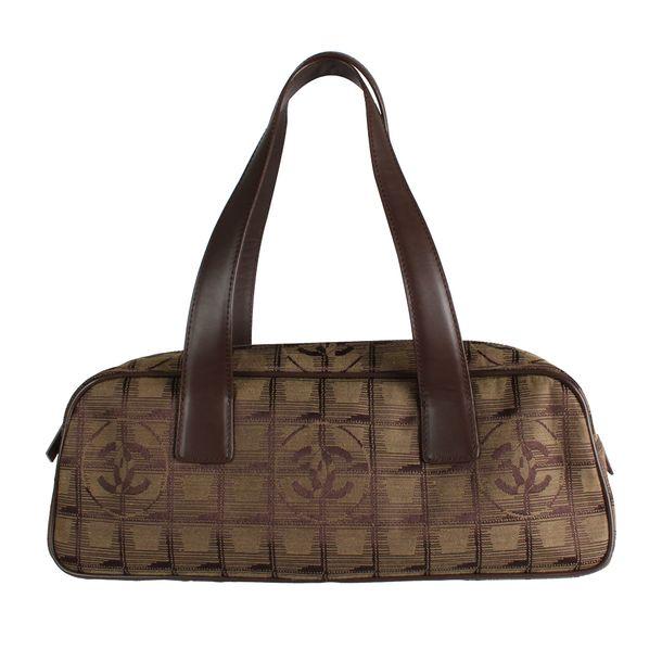 Bolsa-Tote-Chanel-Nylon-e-Couro-Musgo