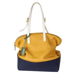 Bolsa-Tote-Fendi-de-Couro-Amarela-e-Azul