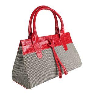 Bolsa-Tote-Glorinha-Paranagua-de-Reptil-e-Tecido-Vermelha-e-Preto