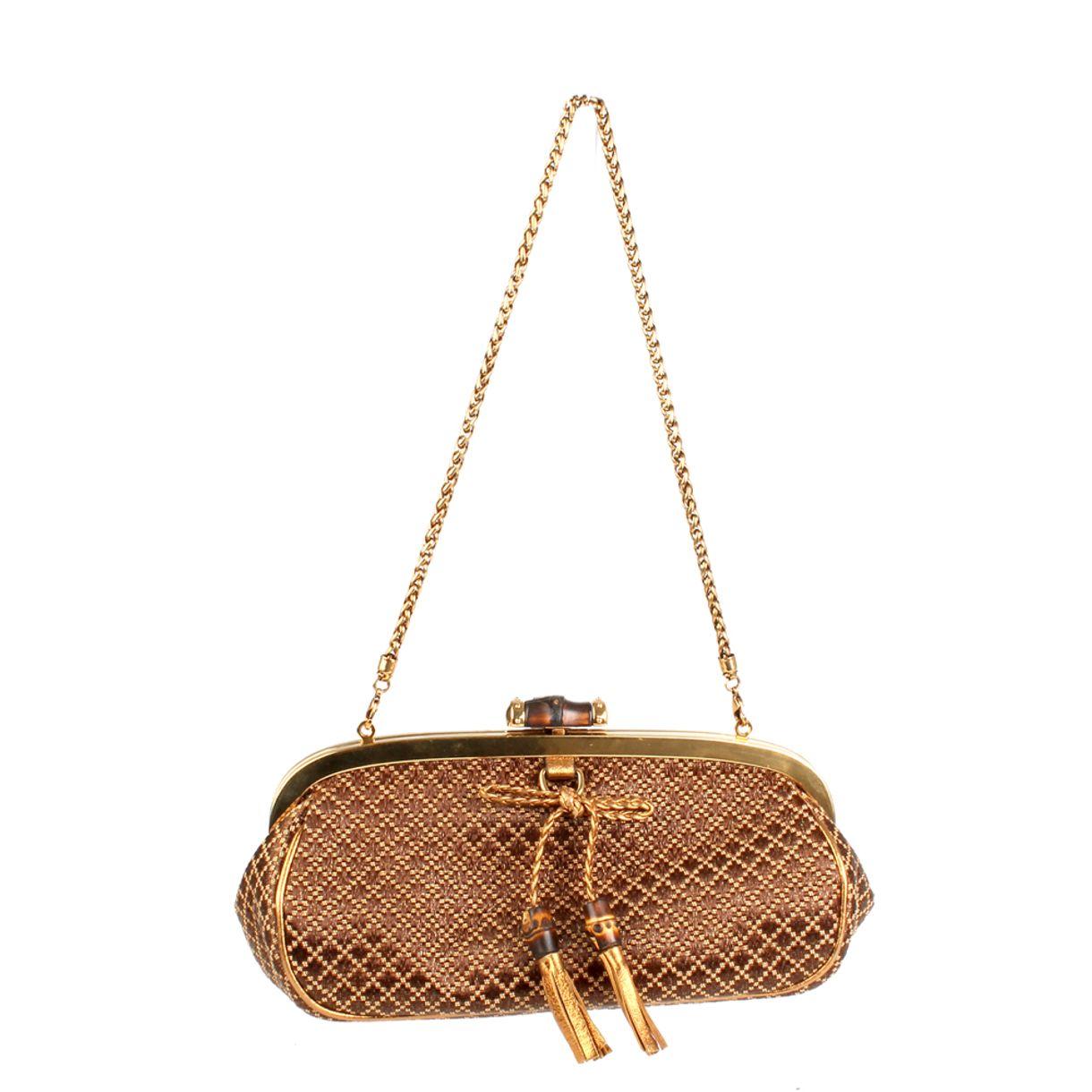 Clutch-Gucci-Tecido-Marrom-Dourado