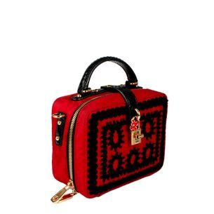 Bolsa-Tiracolo-Dolce---Gabbana-Tecido-e-Python-Vermelho