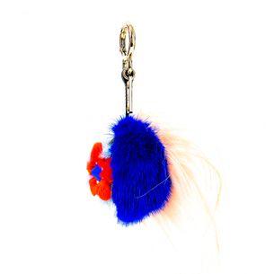 Chaveiro-Fendi-Pompom-Azul