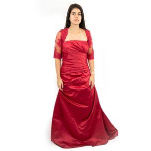 Vestido-Pronovias-Longo-com-Bolero-Tule-Vermelho