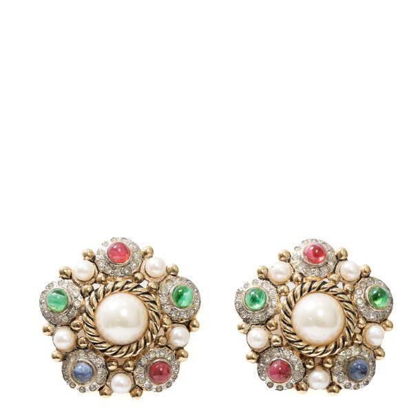 Brinco-de-Pressao-Vintage-Pedras-Verde-Rosa-e-perola
