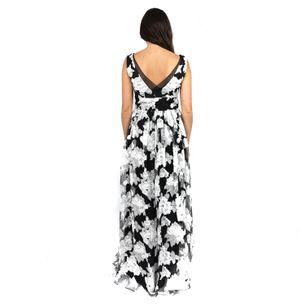 Vestido-Vera-Wang-Floral-Preto