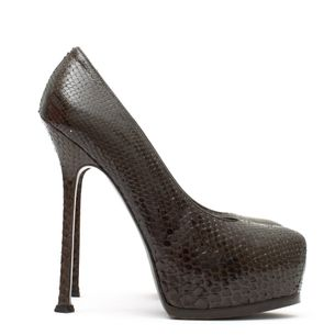 Pump-Saint-Laurent-Python-Marrom