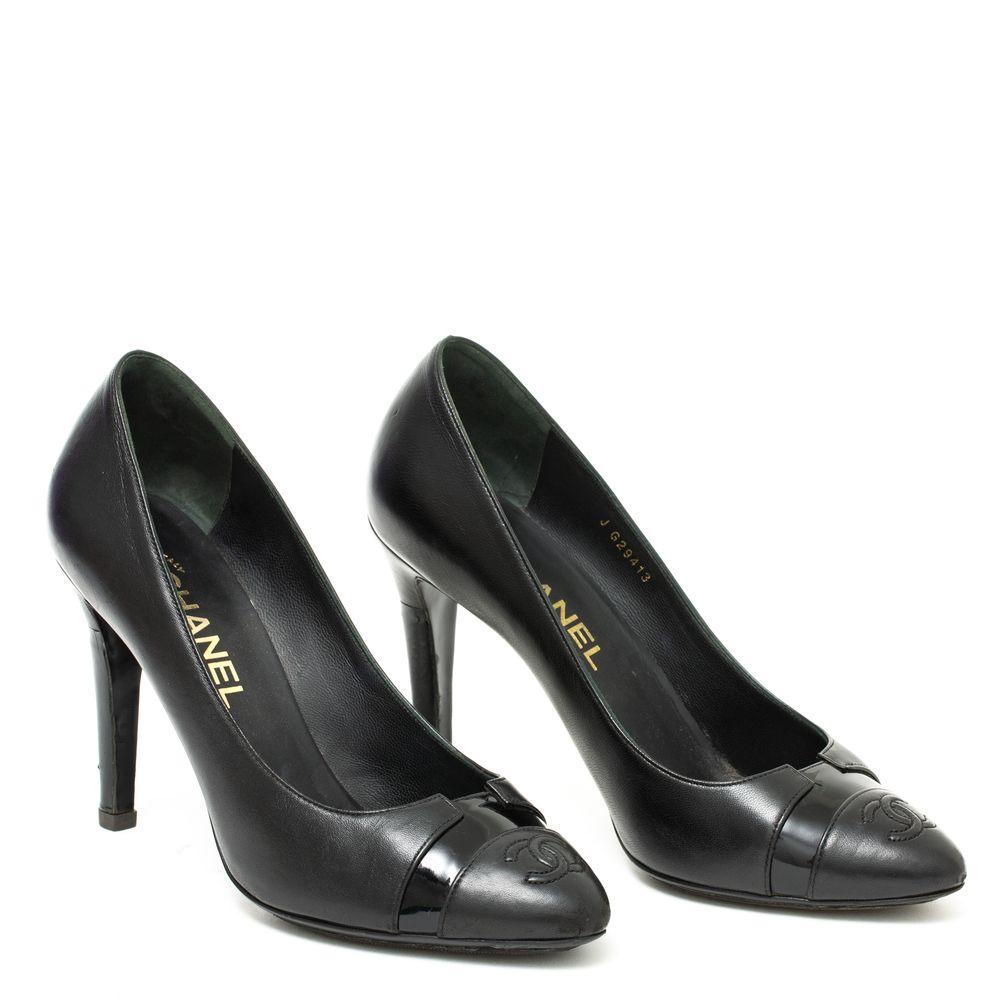 Sapato Scarpin Chanel Bicolor Couro e Tecido Original