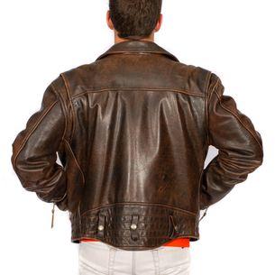 Jaqueta-Harley-Davidson-Couro-Marrom-Vintage