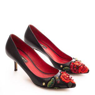 Scarpin-Dolce---Gabbana-Couro-Preto-e-Aplicacoes