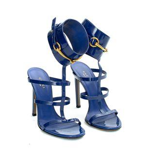 Sandalia-Gucci-Horsebit-Tornozelo-Verniz-Azul