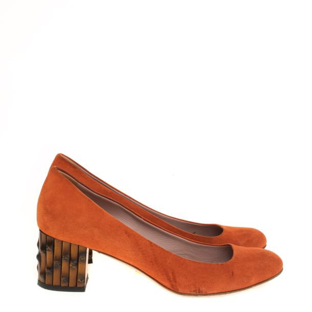 Sapato-Gucci-Bamboo-Camurca-Laranja
