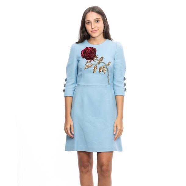 Vestido-Dolce---Gabbana-Azul-Rosa-Bordado