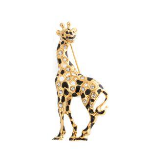 Broche-Swarovski-Girafa-Dourada