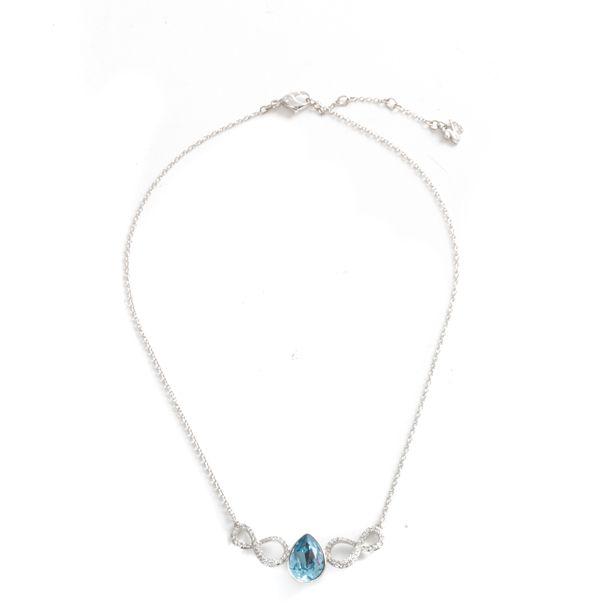Colar-Swarovski-Prateado-Pedra-Azul