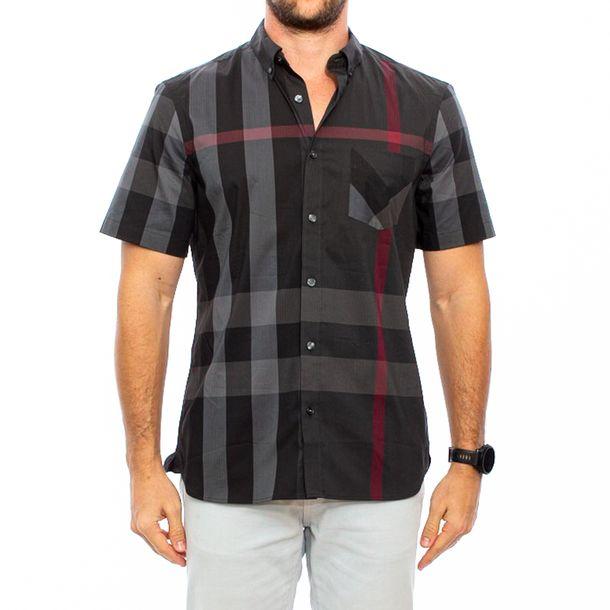 Camisa-Manga-Curta-Burberry-Xadrez-Preta