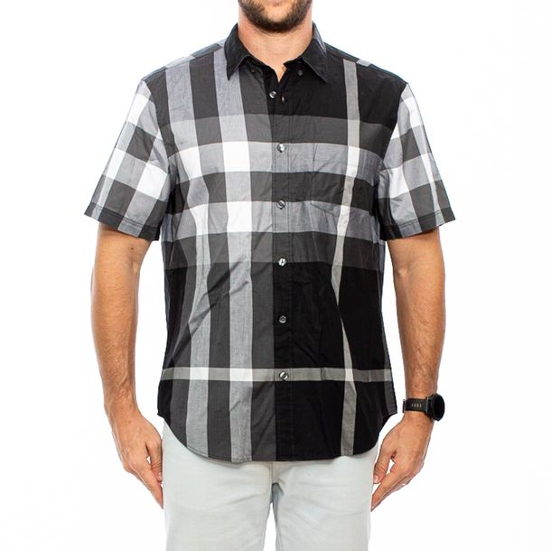 Camisa-Manga-Curta-Burberry-Xadrez-Cinza