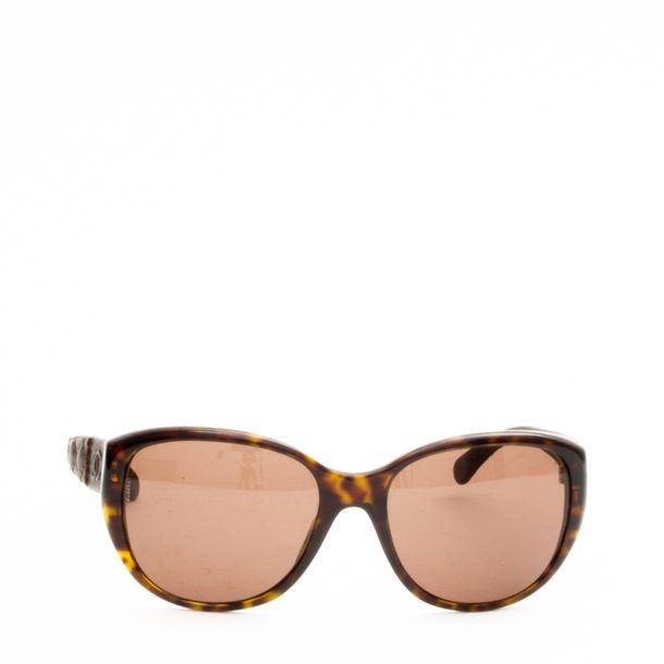 Oculos-Chanel-Couro-Marrom