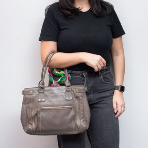 Bolsa-Longchamp-Couro-Cinza