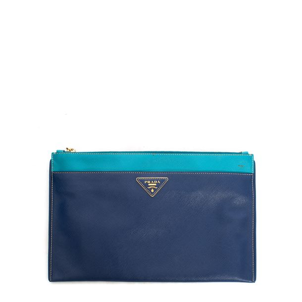Clutch-Prada-Bleuette-Bicolor-Saffiano