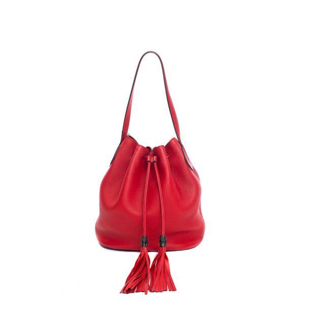 Bolsa-Gucci-Calfskin-Medium-Lady-Tassel-Bucket-Vermelho