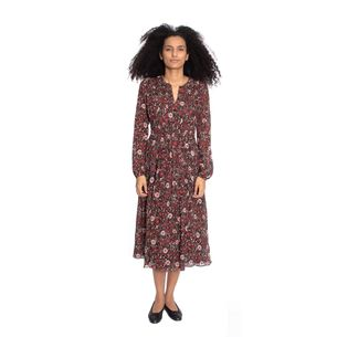 Vestido-Burberry-Midi-Estampa-Flores-Marrom