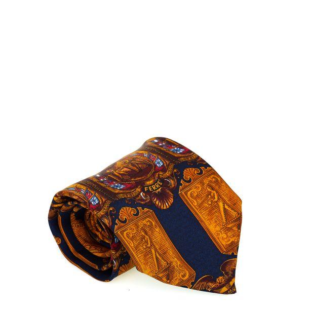 Gravata-Granfanco-Ferre-estampa-azul-e-dourada