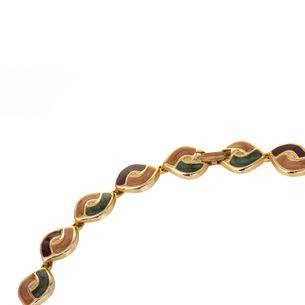 Colar-dourado-marrom-bege-e-verde-Vintage