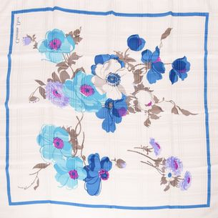 Lenco-Christian-Dior-Branco-e-Azul-Estampa-Flores