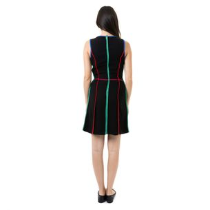 Vestido-Reinaldo-Lourenco-Preto-Listras-Coloridas