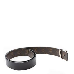 Cinto-Louis-Vuitton-Couro-Preto-Reversivel-Monograma-Macassar